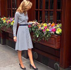 Dress: Ralph Lauren,  Shoes: Ann Taylor; Necklace: Ralph Lauren