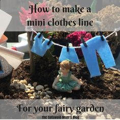 Tutorial to add a fairy clothes line to your miniature garden Fairy Clothes, Clothes Line, Fairies Garden, Fairy Gardens, Fairy Garden Accessories, Miniature, Christmas Ornaments, Holiday Decor, How To Make