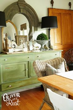 Oliver and Rust GREEN chalk paint buffet...loving green as the new (to me) neutral!
