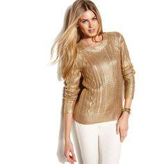 MICHAEL Michael Kors Petite Sweater, Long-Sleeve Metallic Cable-Knit