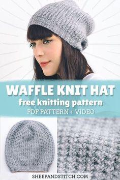 Knit Slouchy Hat Pattern, Beanie Knitting Patterns Free, Beanie Pattern Free, Easy Knitting, Free Pattern, Easy Knit Hat, How To Knit A Hat, Motifs Beanie, Story Starter