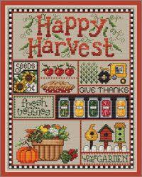 Happy Harvest Autumn cross stitch