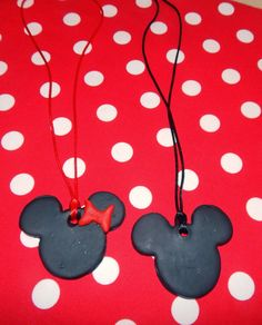 Mickey Mouse  and Minnie Mouse  Pendants easy for kids to make! Tutorial  :This Ole Mom