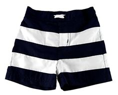 28c75cfd7e Amazon.com: Baby Boy Swim Trunks with UPF 50 Protection (Navy Stripes 12  Months): Clothing