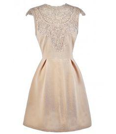 Beige Lace A-Line Dress, Beige Lace Party Dress, Cute Beige Dress
