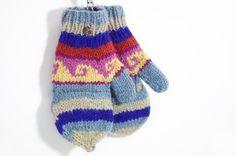 限量一件手織純羊毛針織手套 / 可拆卸手套 - 童趣色系