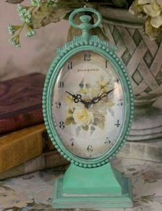 Yellow Tea Rose Clock from Victorian Trading Co.