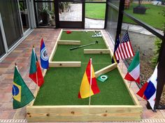Sweet DIY Mini Golf set for a nice birthday girl. 4' x 12' with three boxes underneath for the turf to sit on. Found a great place in Sarasota, FL that sells this stuff. Bought the remnant for under $150.