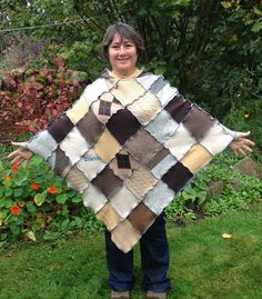 Upcycled Hooded Patchwork Poncho. Unisex. Recycled Wool Knitwear. Earthy colours, browns with blue thread OOAK One size  Handmade in UK.