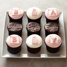 Personalizaed Baby Cupcakes for Her, Set of 9 #williamssonoma