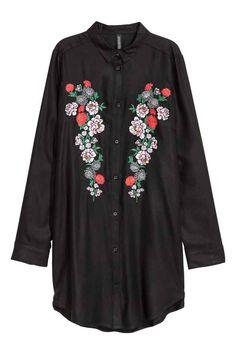 Рубашка из вискозы с вышивкой - Черный/Цветы - Женщины   H&M RU