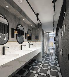 Public Bathrooms, Large Bathrooms, Restaurant Interior Design, Bathroom Interior Design, Wc Bathroom, Washroom, Rest Area, Restroom Design, Toilet Design