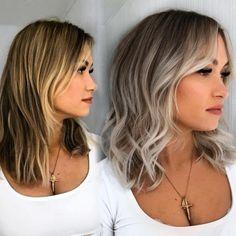 Ash Blonde Mid-Length Haircut Inverted Hairstyles, Cute Hairstyles For Medium Hair, Medium Short Hair, Medium Hair Cuts, Down Hairstyles, Medium Hair Styles, Curly Hair Styles, Medium Haircuts For Women, Messy Wavy Hair
