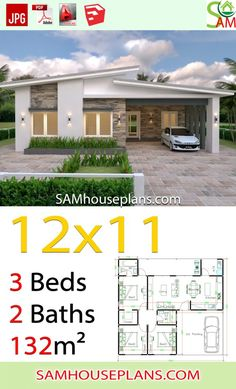 House Plans with 3 Bedrooms Slap roof - Sam House Plans Modern Bungalow House Design, Small Modern House Plans, Simple House Plans, Small House Design, Model House Plan, My House Plans, Family House Plans, Villa Architecture, Three Bedroom House Plan