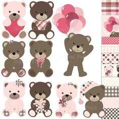 Baby Girl Teddy Bear Clip Art and Paper Set - pink brown printable digital clipart - instant download
