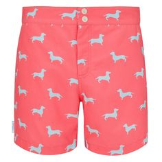 Coral and pale blue Dachshund print men's tailored swim shorts. Available in boys sizes too, each collection from Galago Joe is dedicated to one animal, with of all profits being donated to associated charities. French Bulldog Blue, Swim Shorts, Patterned Shorts, Dachshund, Coral, Swimwear, Collection, One Piece Swimsuits, Weiner Dogs