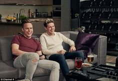 Laughing for charity: Next Friday singers Olly Murs and Niall Horan will settle down on the Gogglebox sofa as part of Channel 4's Stand Up To Cancer spectacular