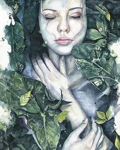 'Nature's Embrace' watercolor by Joanna Wedrychowska