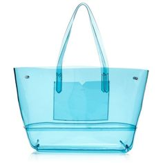 J.Crew Clear Beach Tote (132 AUD) ❤ liked on Polyvore featuring bags, handbags, tote bags, purses, fillers, sac, clear purse, blue tote, j crew tote and j crew handbag