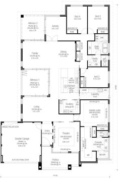 Ocean Series - The Hamlin - Floorplan Like the idea of a scullery!! But no study. And not sure about 2 separate alfresco areas....?
