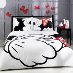 Mickey Mouse Bedding Set Cartoon Kids Favorite Home Textiles Plain Printed Stylish Bedclothes Single Double Queen Size //Price: $27.30 & FREE Shipping //     #hashtag4