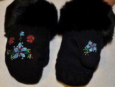 Inuit made women's embroidered duffle mitts w/ fur trim by Eva Sakiagak Audlaluk