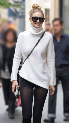 Gigi Hadid wearing a Tory Burch Turtleneck