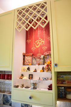 Mandir by indeco rustic mdf Pooja Room Door Design, Home Room Design, Living Room Designs, House Design, Indian Home Interior, Indian Home Decor, Room Interior, Interior Design, Bedroom Furniture Design