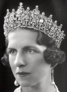 Queen Helen of Romania wearing Queen Sophia's tiara. Tiara now with the Greek Royal family.