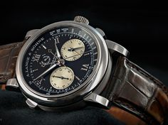 A. Lange & Söhne - Double Split, ref.404035 - Manual-winding, cal.L001.1, 3Hz, 38hr p.r., chronograph, flyback, rattrapante, power reserve indicator - 43.2mm, platinum case, black dial ~75k