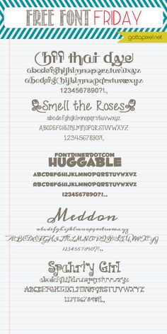 Free Font Friday  ~~ {5 free fonts w/ links}