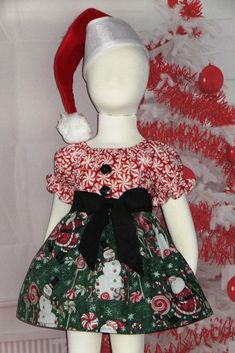 4d259437e328 Santa Christmas Dress Boutique Peasant Holiday Red Green Candy Baby 6 12 18  24 month,
