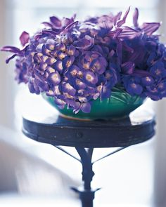 Create a study in color with different flowers in shades of the same hue. Hydrangeas and clematis in purple tones look unified yet diverse. The…