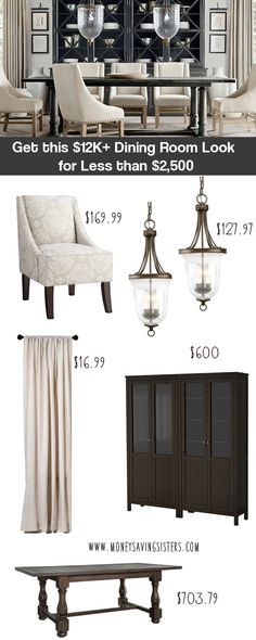 Restoration Hardware inspired decor, decor on a dime Get the Look of Restoration Hardware, copy cat Restoration hardware decor, knock off the look of RH Dining Room Inspiration, Home Decor Inspiration, Dining Room Design, Dining Rooms, Dining Chairs, Decoration, Home Remodeling, Sweet Home, Room Decor