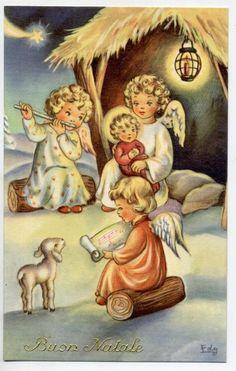 Angeli Bambini Cantano e suonano con Gesù Natale Child Angels PC Circa 1940