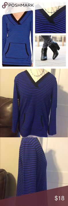 Royal blue tunic V neck tunic with kangaroo pocket. In great condition. Liz Claiborne Tops Tunics