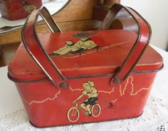 Vintage Owens Illinois Child's Red Tin Metal Lunch Pail Box. $25.00, via Etsy.