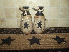 Primitive Crackle Ceramic Salt & Pepper Set  ~ Black Stars ~ Country Decor #NaivePrimitive