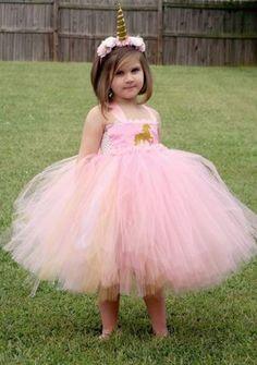 Unicorn Pink and Gold Tutu Dress Pink and by GigglesandWiggles1