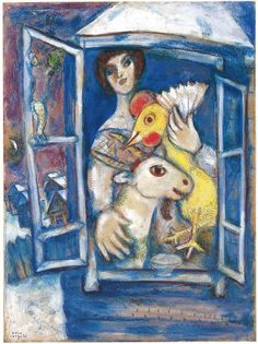 Bella with Rooster in the Window - Marc Chagall - private collection www.princessdianevonbrainisfried.com