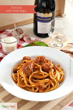Troccoli with Nonna's #Pork Ragu - a slightly spiced meat sauce for #pasta. #italianfood