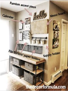 Command Center Kitchen, Family Command Center, Command Centers, Home Command Station, Home Office Design, Home Office Decor, Diy Home Decor, Organization Station, Home Office Organization