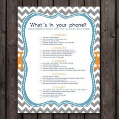 whats in your cell phone?  baby shower game, orange, teal blue and gray baby shower game, baby shower game instant download at purchase