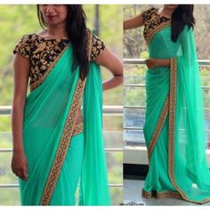 Bring in a wisp of grace and freshness to your dressing style with this sea green georgette fancy saree. This fancy saree made with embroidered and patch border. It's best for party, wedding and cerem. Lace Saree, Chiffon Saree, Kurti Neck Designs, Saree Blouse Designs, Fancy Sarees Party Wear, Plain Georgette Saree, Buy Designer Sarees Online, Designer Dresses, Saree Styles