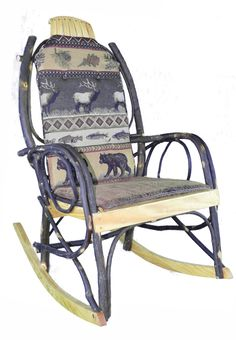 Amish Rocking Chair Cushion Set   Elk Run Fabric