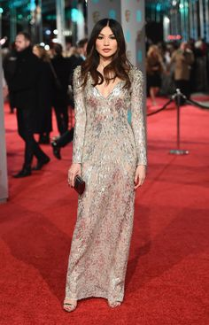 BAFTAs All the red carpet looks Gemma Chan in Jenny Packham and De Beers jewellery with a Jimm Gemma Chan, Jenny Packham, Gray Dress, The Dress, Celebrity Red Carpet, Celebrity Style, Glamour, Bafta 2016, Beautiful Dresses