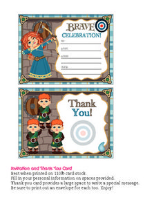 Free printable Brave invitations