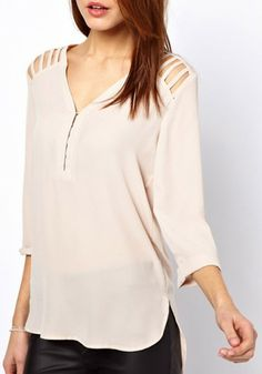 Cut-out V-neck Blouse