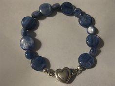 Glistening kyanite bracelet sterling magnetic heart by las81101