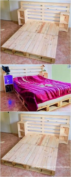 Presenting to you the lovely creation of the used wood pallet bed idea. It is al.Thanks podrojkinpolina for this post.Presenting to you the lovely creation of the used wood pallet bed idea. It is all designed in the different pattern of des# bed Wooden Pallet Beds, Diy Pallet Bed, Wooden Pallet Projects, Wood Pallets, Pallet Art, Small Pallet, Pallet Tables, Garden Pallet, Outdoor Pallet